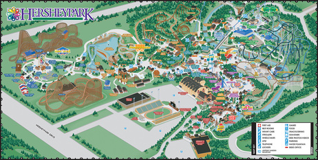 VistaMap amusement park maps, such as Hersheypark, are very complex, rendering the attractions and facilities clearly is the key to the guest wayfinding experience. copyright 2003 Gary Milliken / VistaMap