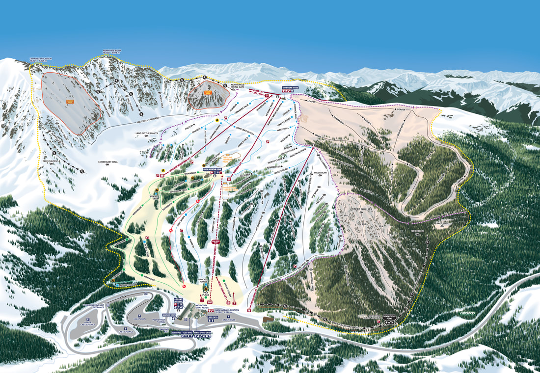VistaMap new trail map for Arapahoe Basin, Colorado, copyright 2017 by Gary Milliken, VistaMap