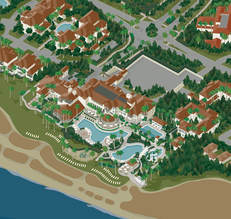 VistaMap Sea Island Resort map zoomed in to Sea Island Beach Club. Copyright 2016 Gary Milliken / VistaMap
