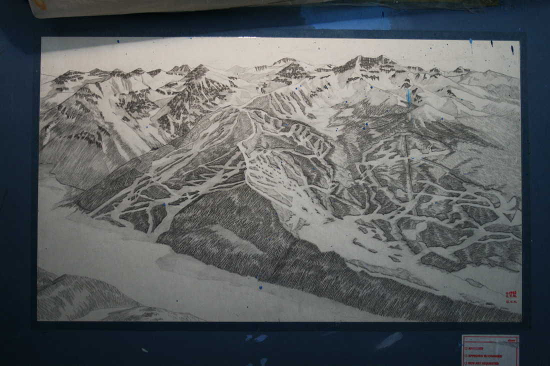 Photo image of hand drawn rendering of Telluride Ski Resort, Colorado by Gary Milliken 1992