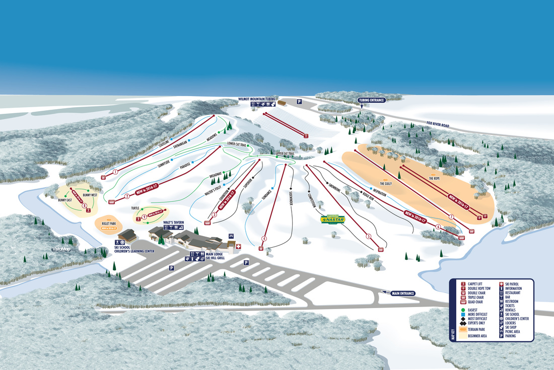 VistaMap trail map of Wilmot one of the latest additions to Vail Resorts.  Copyright 2016 Gary Milliken / VistaMap
